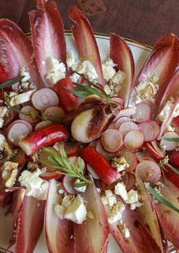 Ensalada de rabanitos con endibias rojas, queso feta y vinagreta de estragón