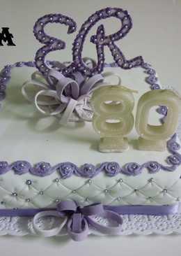 Torta cumpleaños de 80 para mujer