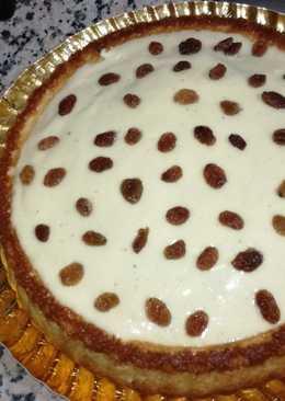 Tarta de yogur con almíbar de naranja toronja y crema pastelera