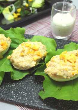 Huevos al queso azul