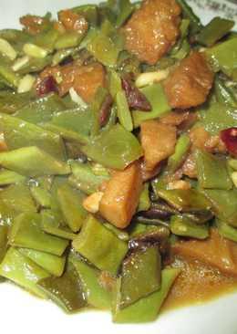 Judías verdes planas con seitán - vegana