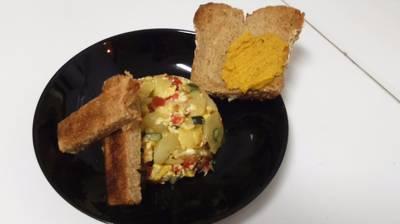 Revuelto de patatas, calabacin y pimiento rojo