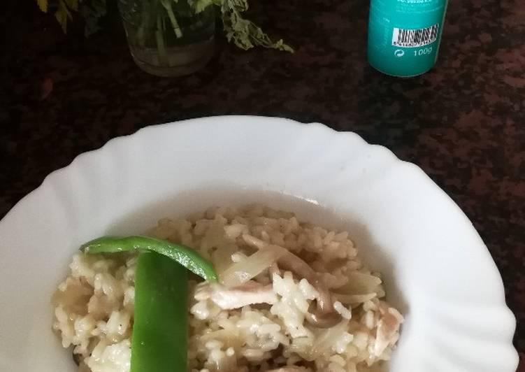 Arroz Caldoso Con Setas Y Pollo arroz meloso de pollo y setas receta de paulaoboe - cookpad