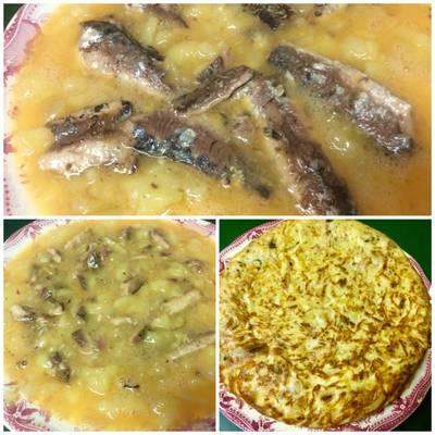 Tortilla de patata, cebolla y sardinas en aceite