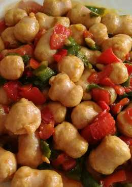 Salchichas frescas de pollo con pimientos y especias 😻
