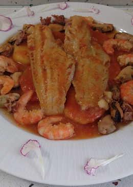 Patatas con pescado y marisco