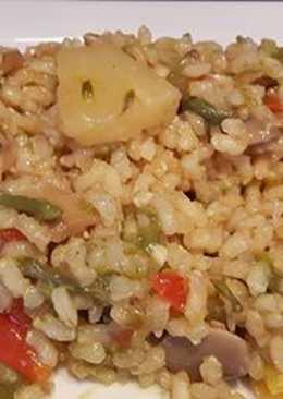Arroz integral con verduras y piña