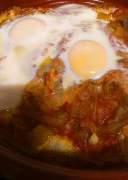 Huevos al horno con berenjenas