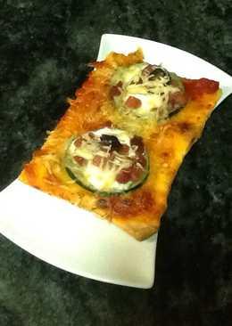 Mini pizzas de calabacín, jamón y queso Philadelphia