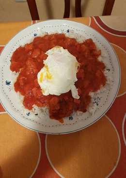 Arroz blanco con magro y huevo