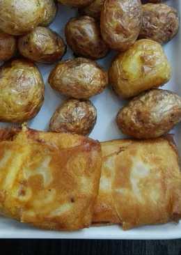 Huevos fritos con chorizo y setas en Brick