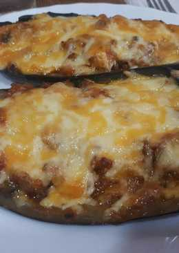 Berenjenas rellenas con queso y sobrasada