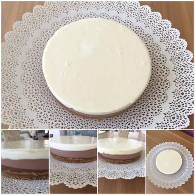 Tarta 🎂 tres chocolates con base de galleta 🍪