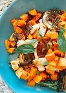 Ensalada templada de quinoa con boniato asado y bimi