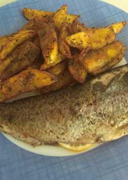 Trucha con patatas especiadas al horno