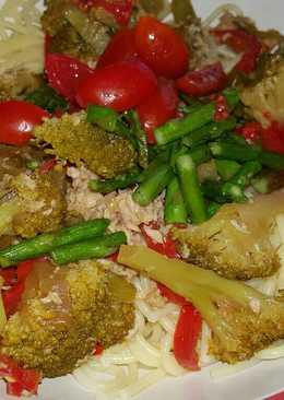 Espaguetis con espárragos trigueros(vegetariano)