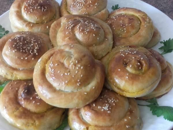 Espirales de carne picada y verduras /comida de Marruecos
