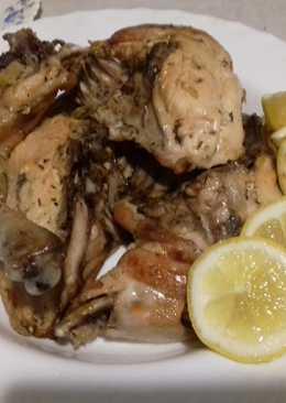 Pollo al horno aderezado con limón, miel y mostaza