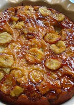 Torta invertida de banana (cambur, plátano)