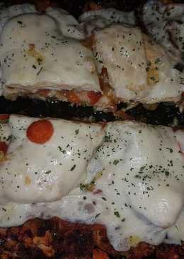 Filete pollo al horno con queso y verduras