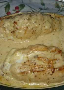 Pechugas de pollo rellenas de crema de queso y dátiles