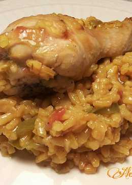 Arroz con pollo en sartén