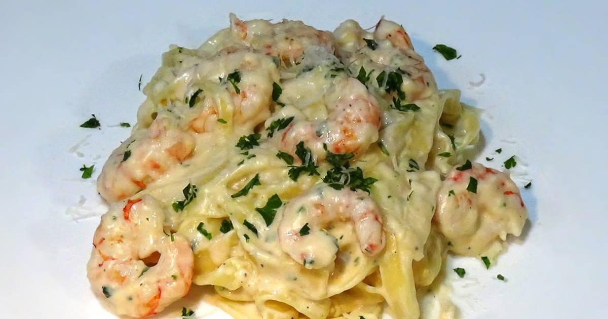 Pasta alfredo 129 recetas caseras cookpad - Espagueti con gambas y nata ...