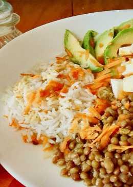 Ensalada de lenteja y arroz con vinagreta de curry y Canela (receta saludable para diabetes)