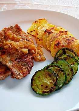 Lomo de cerdo con verduras y salsa de avena