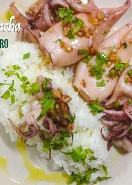 Calamares a la plancha con jengibre y cilantro