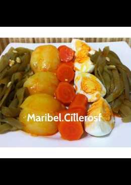-Verduras al vapor con huevo cocido-