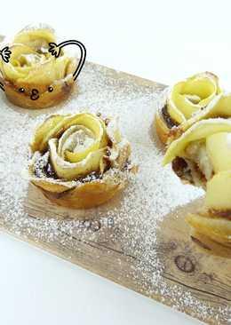 Rosas de hojaldre con manzana y crema de cacao (Nutella) 3 ingredientes muy fáciles
