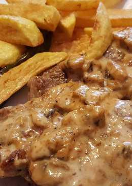 Chuletas de cerdo con salsa de champiñones y soja