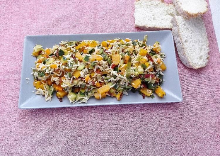 Sobras de arroz con verduras
