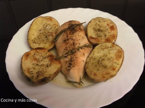 Solomillo de pavo al horno con patatas