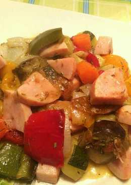Verduras asadas con pavo