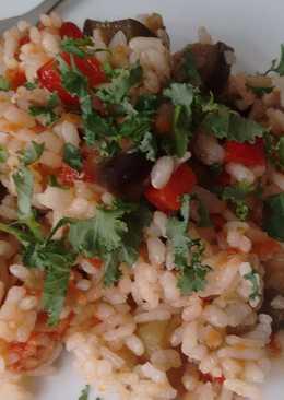 Arroz prebiótico con berenjena y tomate seco enriquecido con Agua de Mar
