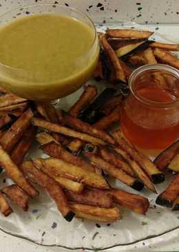 Vichyssoise con espinacas y berenjenas fritas con miel