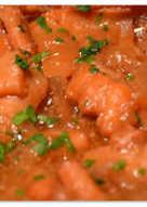 Tiras de pota, ó calamar, con salsa de tomate