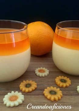 Postre con gelatina de naranja