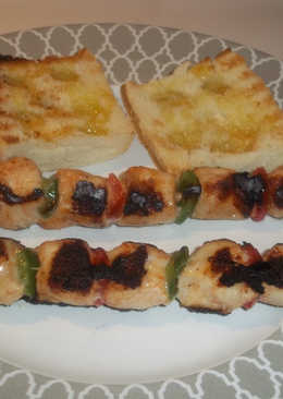 Pinchos de pollo y pimientos