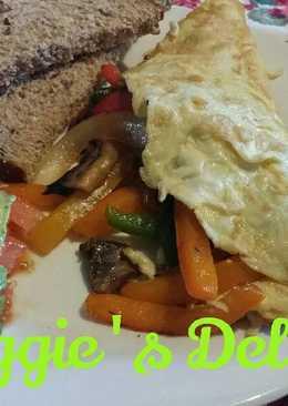 Omelett de pimientos y champiñones