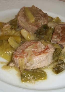 Solomillo de cerdo con ajos tiernos