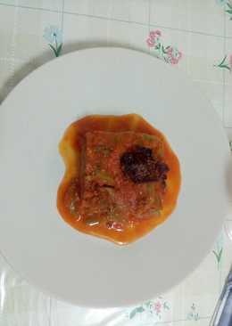 Judías verdes con tomate a la albahaca y crujiente de jamón