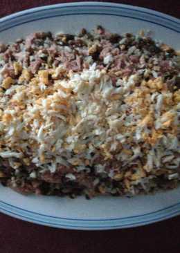 Ensalada de lentejas, arroz y atún
