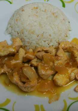 Pollo a la naranja con arroz blanco