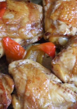 Pollo horneado al ají molido y vino tinto