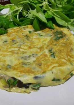 Omelette con setas, ajitos y cilantro