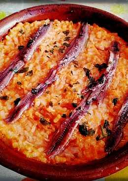 Arroz al horno con anchoas y atún
