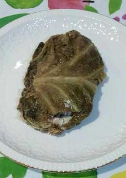 Atadillo de col rellena de crema de champiñones crudos y j. York